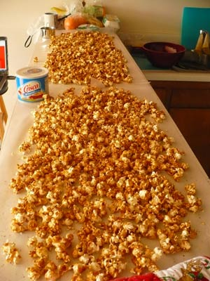 Caramel Popcorn Spread out on the Counter