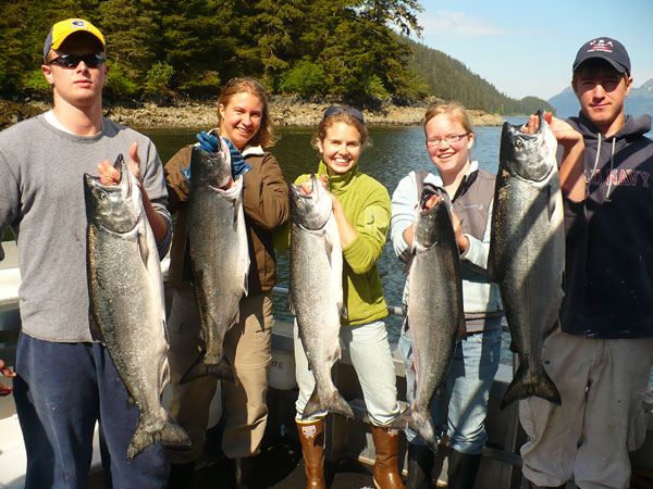 Ev and co-workers with king salmon we caught on our day off