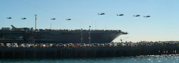 Helicopters Over the USS Midway