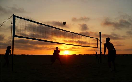Playing Beach Volleyball at Ocean Beach