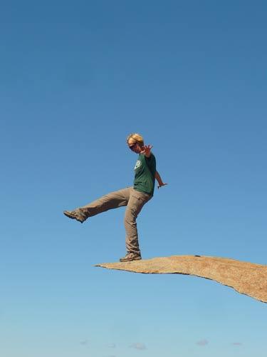 Ev Stepping Off a Rock