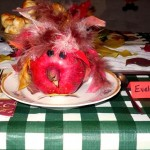 My pomegranate turkey table decoration.