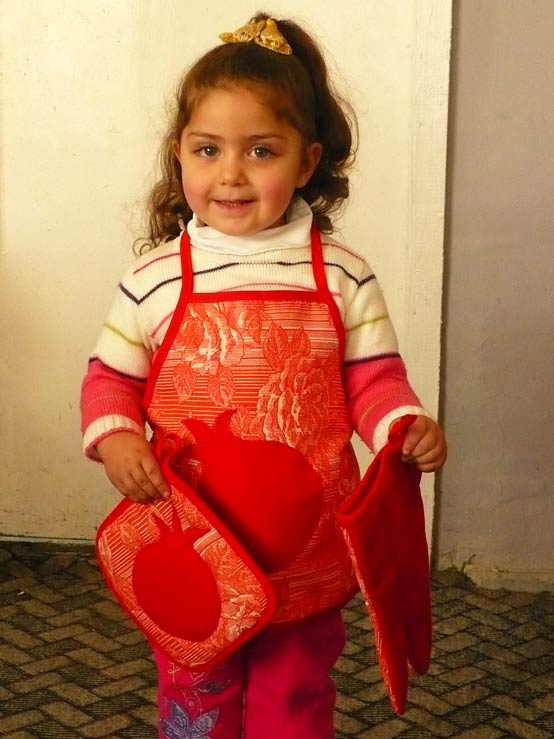 Children's aprons with Pomegranate