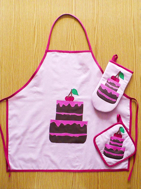 Pink Cake Collection, Oven Glove, Pot Holder, Apron