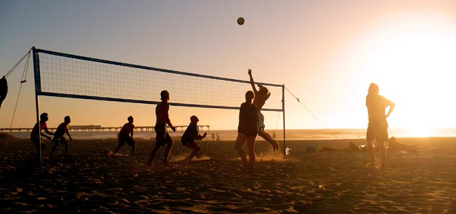 Beach Volleyball at Sunset
