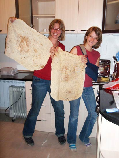 Ev and Sister Holding Lavash in Armenia