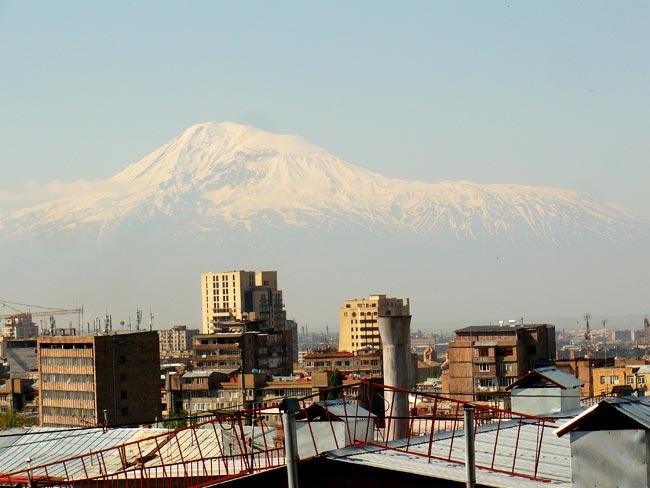 Mount Ararat with a view of Yerevan Armenia buildings