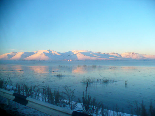 My ride to Yerevan passed by frozen Lake Sevan, a beautiful but frigid sight.
