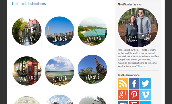 Featured Destinations from Wander the Map
