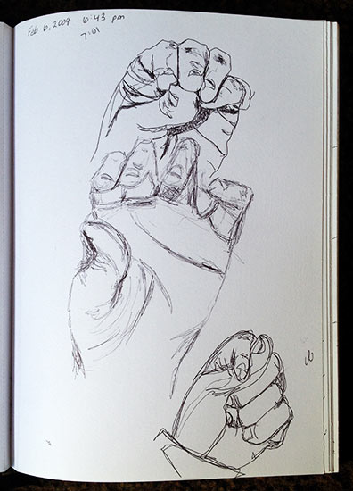I used to sketch my left hand every day. I don't do that anymore.