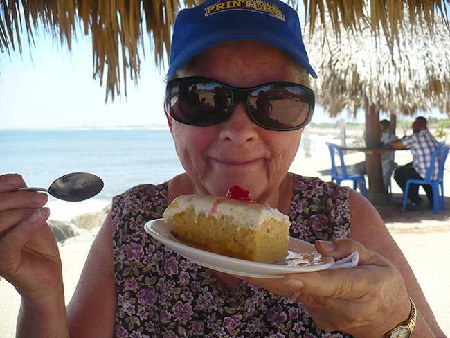 "Grandma with her ""3 Milks Cake."""