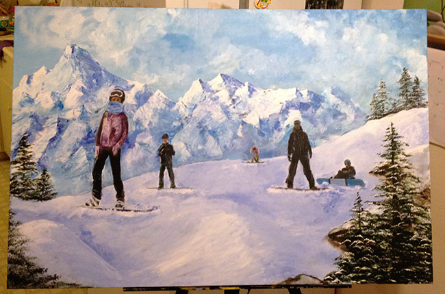 A painting I recently finished, an interpretation of Hatchers Pass in Alaska with some of my family members.