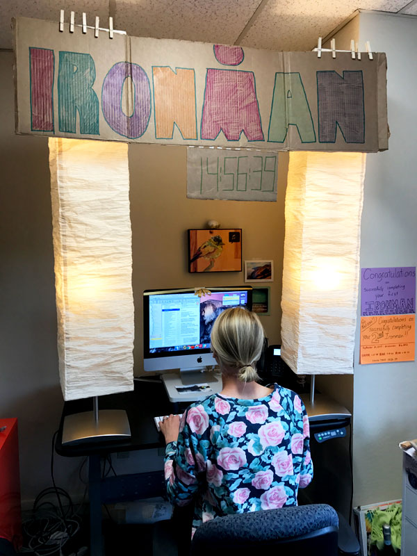 Belissa back at work, basking in the glow of Ironman